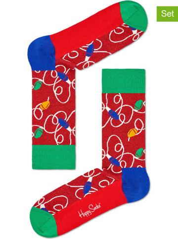 """Happy Socks 2-delige set: sokken """"Holiday Lights"""" rood/meerkleurig"""