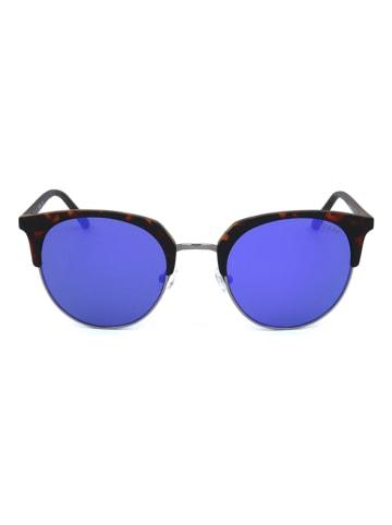 Guess Męskie okulary przeciwsłoneczne w kolorze ciemnobrązowo-niebieskim