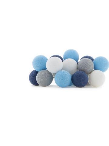 Cotton Ball Lights Lichtguirlande blauw - (L)378 cm
