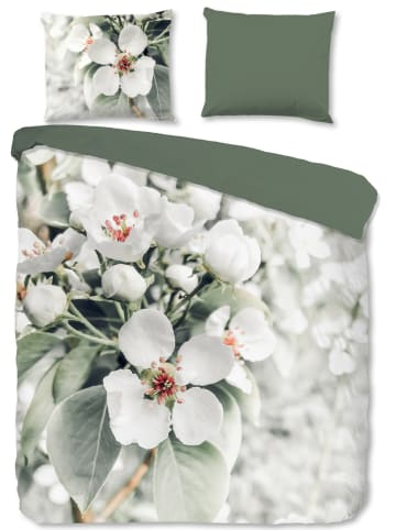 """Good Morning Komplet pościeli renforcé """"Blossom"""" w kolorze biało-zielonym"""