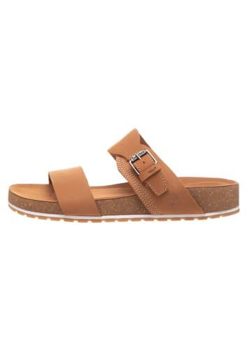 "Timberland Leren slippers ""Malibu Waves 2Band Slide"" lichtbruin - wijdte W"