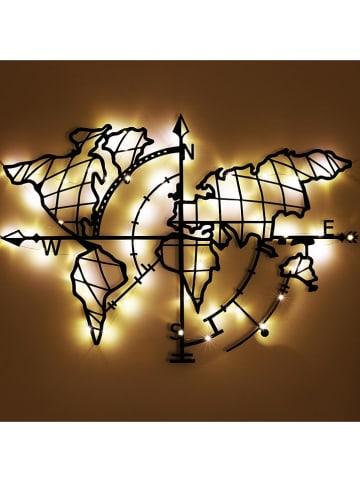 """ABERTO DESIGN LED-Wanddekor """"World Map Compass"""" - (B)95 x (H)65 cm"""