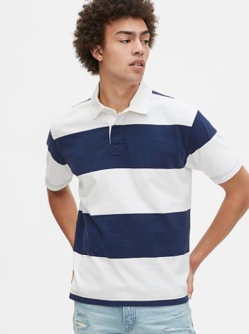 GAP Koszulka polo w kolorze biało-granatowym