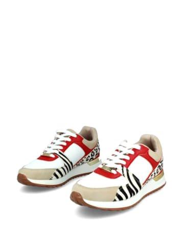 Menbur Sneakersy w kolorze biało-beżowym ze wzorem