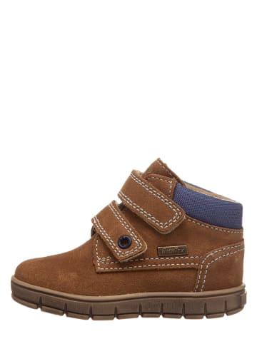 Richter Shoes Leder-Sneakers in Hellbraun/ Blau