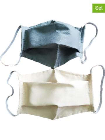 Calitex 2er-Set: Mund- und Nasen-Masken in Grau/ Beige