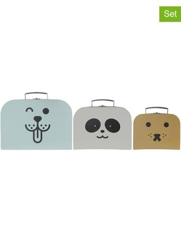 Kindsgut 3-delige set: speelkoffers mintgroen/wit/mosterdgeel