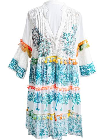 SIGRIS Moda Jurk wit/blauw/oranje