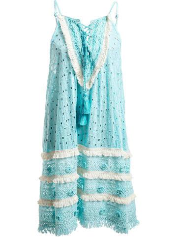 SIGRIS Moda Jurk turquoise/wit