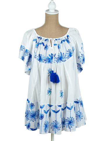 SIGRIS Moda Kleid in Weiß/ Blau
