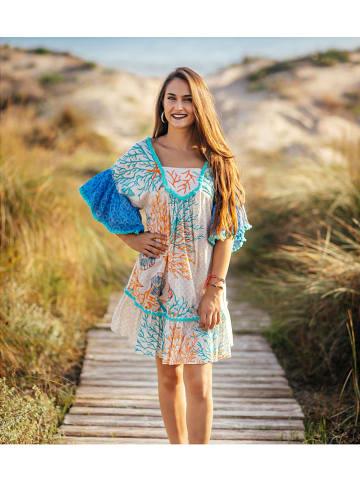 SIGRIS Moda Sukienka w kolorze biało-turkusowo-pomarańczowym