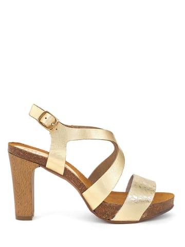 Mia Loé Leder-Sandaletten in Gold