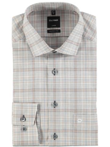 "OLYMP Hemd ""Luxor"" - Modern fit - in Grau/ Hellbraun"