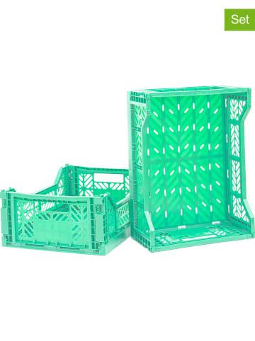 Madre Selva Kids 2-delige set: opbergboxen turquoise - (B)39,5 x (H)14,5 x (D)29,5 cm