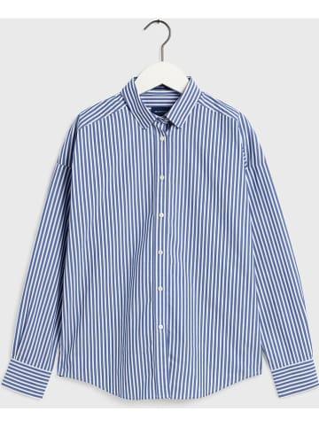 Gant Blouse - oversized fit - blauw/wit