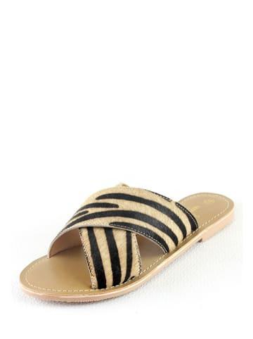"""Manoukian shoes Leren slippers """"Inasse"""" zwart/beige"""