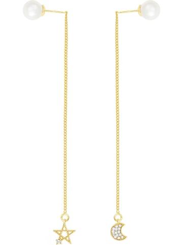 METROPOLITAN Pozłacane kolczyki-wkrętki z kryształami Swarovski i perłami