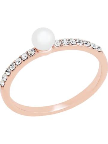 Park Avenue Pozłacany pierścionek z perłą i kryształami Swarovski