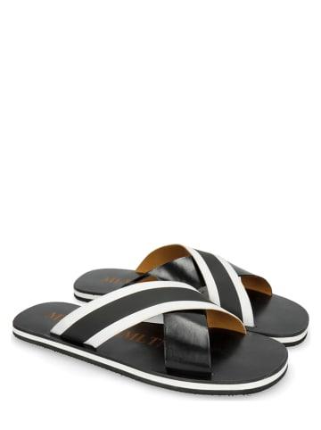 MELVIN & HAMILTON Leren slippers zwart/wit