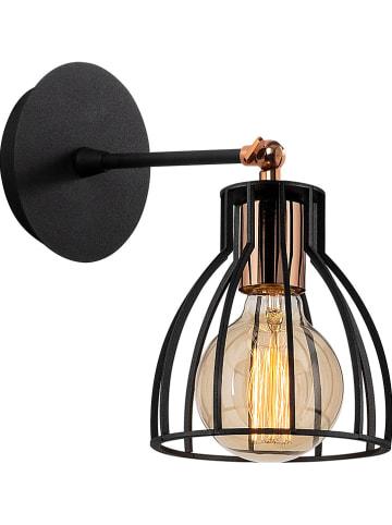 """ABERTO DESIGN Lampa ścienna """"Kemah"""" w kolorze czarno-miedzianym - wys. 24 cm"""