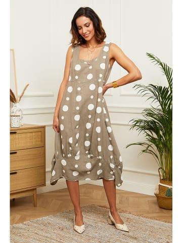 Le Monde du Lin Linnen jurk taupe/wit