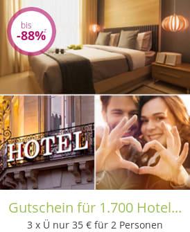 Gutschein für 1.700 Hotels weltweit