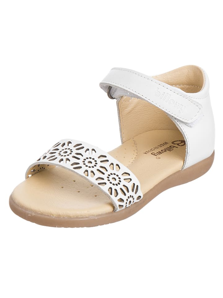 Billowy Leder-Sandalen in Weiß
