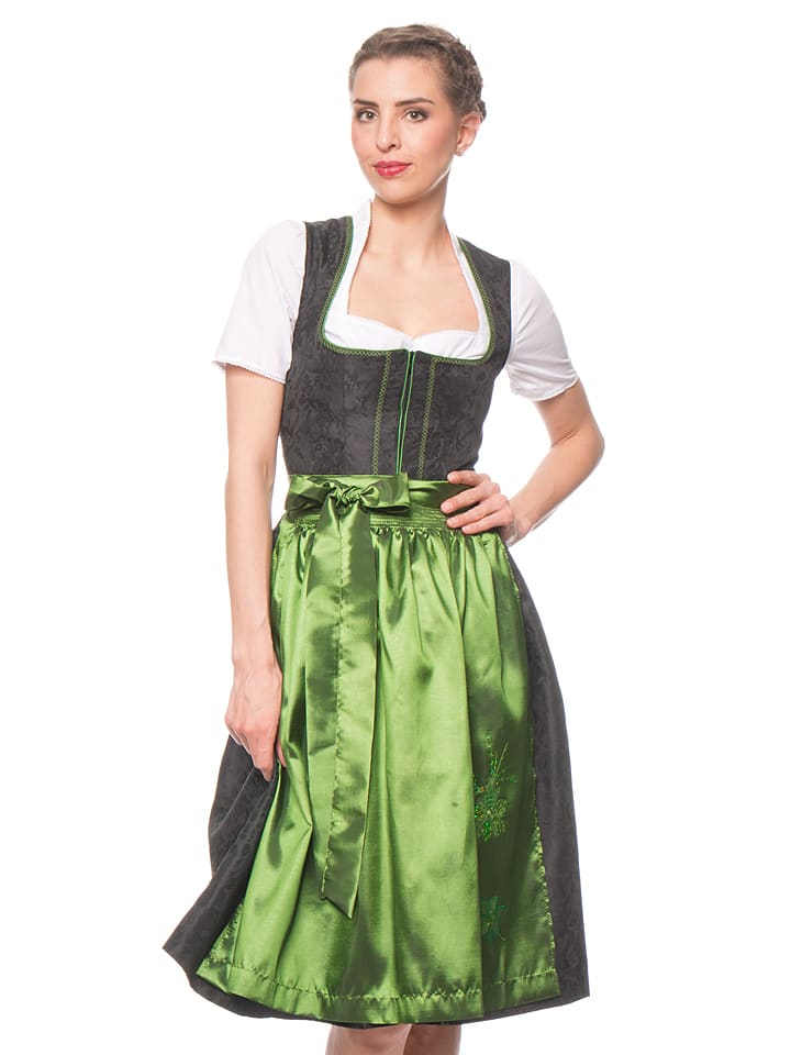 turi landhaus midi dirndl lena in schwarz gr n. Black Bedroom Furniture Sets. Home Design Ideas