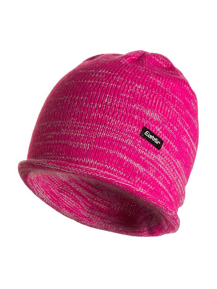 "Eisbär Strickmütze ""Bosco"" in Pink/ Grau"