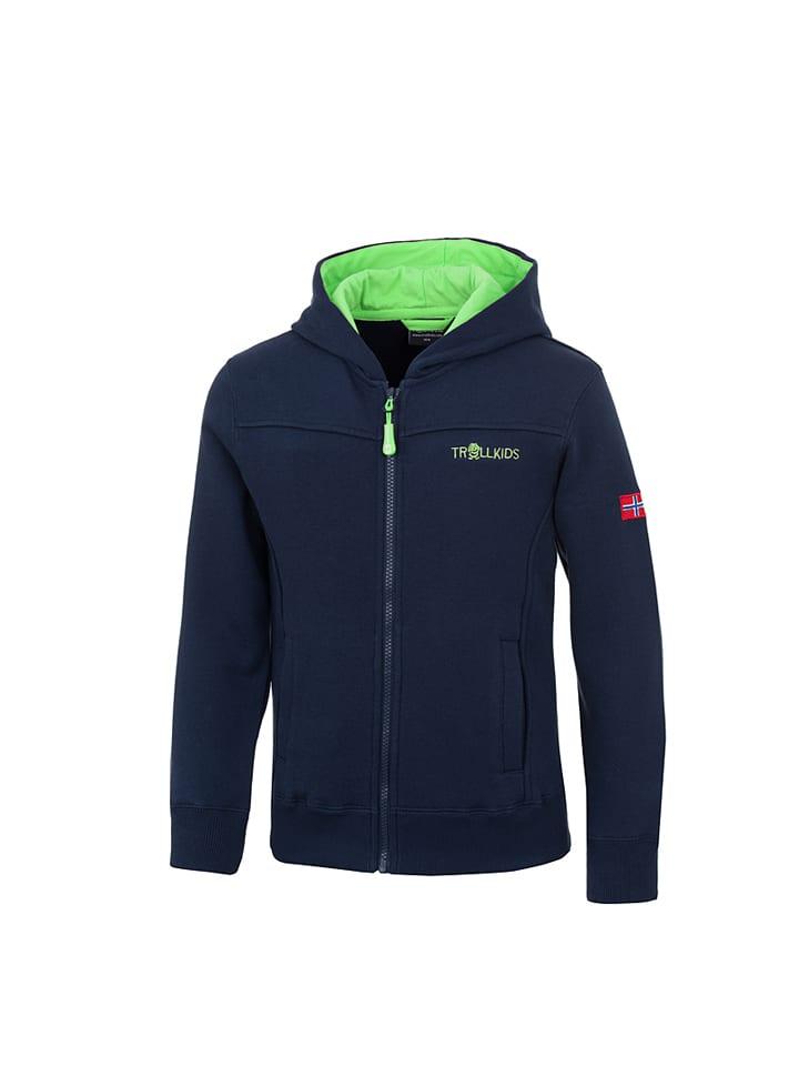 """Trollkids Bluza """"Bergen XT"""" w kolorze granatowo-zielonym"""