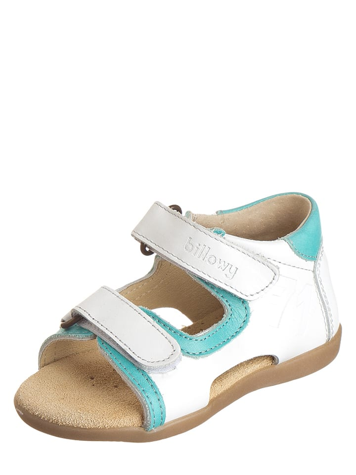 Billowy Leder-Sandalen in Weiß/ Hellblau