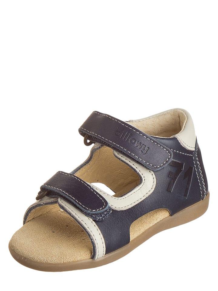 Billowy Leren sandalen donkerblauw/crème