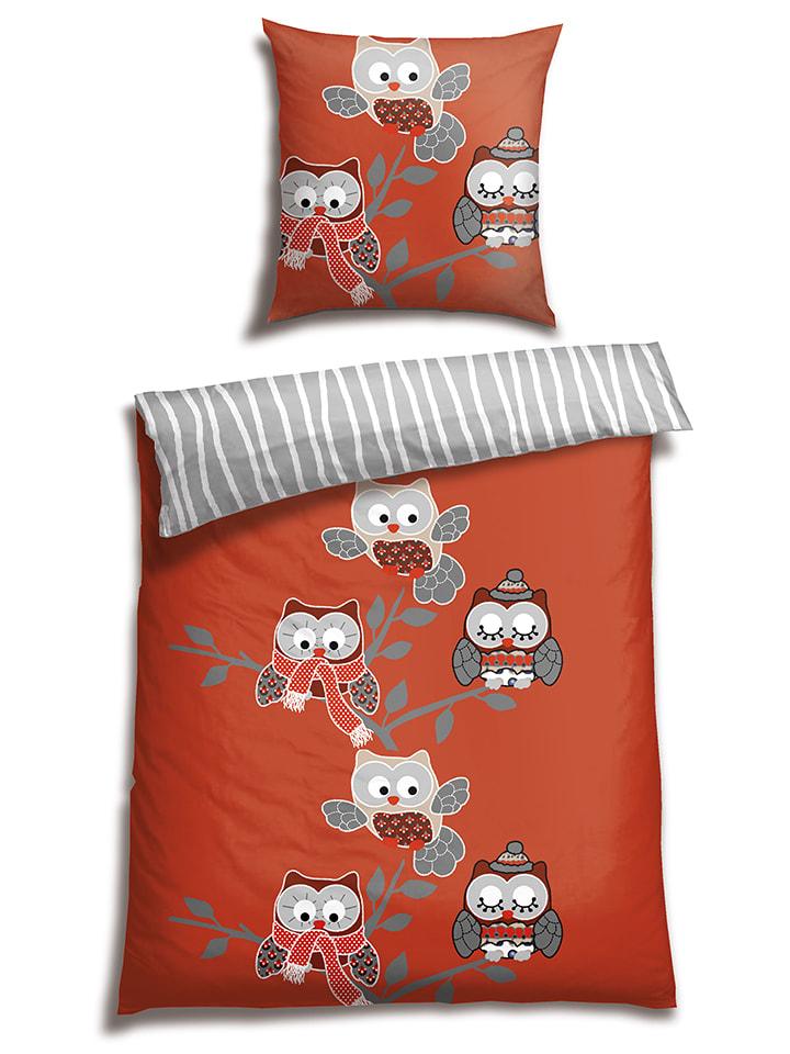 schiesser renforc bettw sche set eule in rot grau limango outlet. Black Bedroom Furniture Sets. Home Design Ideas
