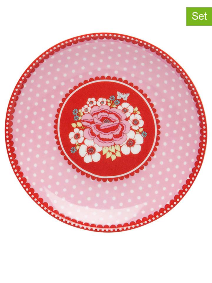 "Room Seven 6-delige set: gebaksborden ""Rosa"" rood/lichtroze - Ø 10 cm"