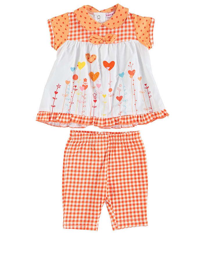 TOM & KIDDY 2tlg. Outfit in Orange/ Weiß