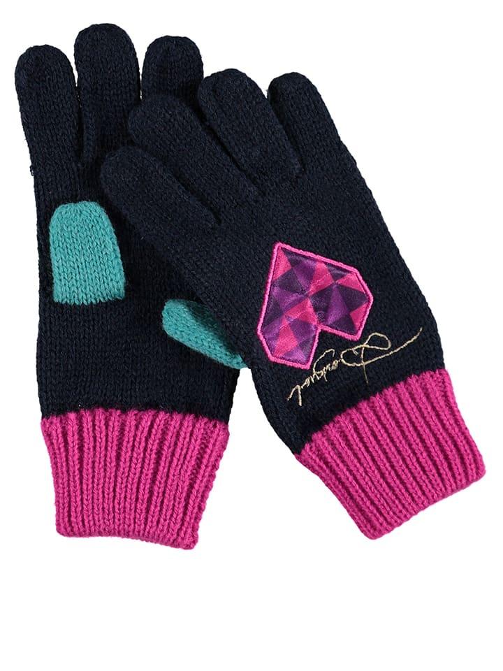 "Desigual Handschuhe ""Rambutan"" in Dunkelblau/ Pink"