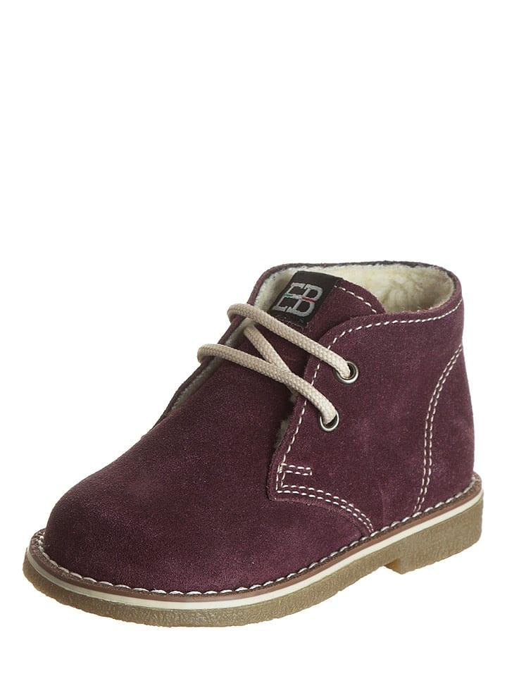 EB Shoes Skórzane trzewiki w kolorze ciemnofioletowym
