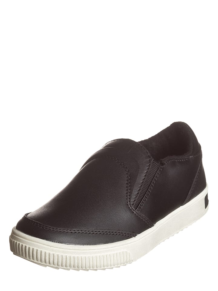 Diesel Kid Skórzane slippersy w kolorze czarnym