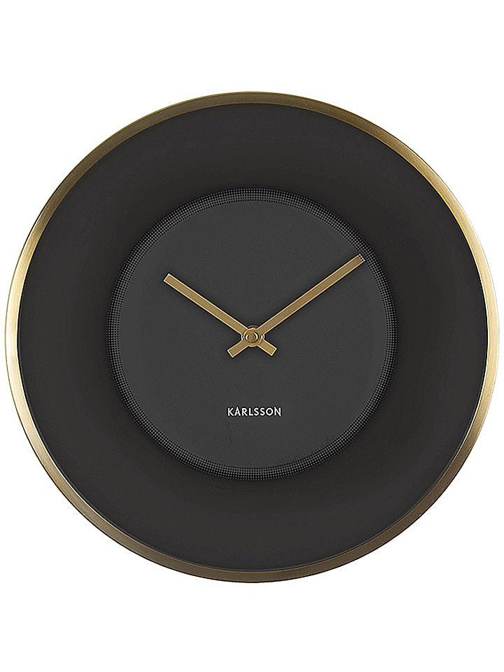 karlsson wanduhr illusion in schwarz gold 30 cm. Black Bedroom Furniture Sets. Home Design Ideas