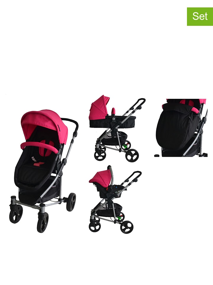 x adventure kombi kinderwagen in schwarz pink limango outlet. Black Bedroom Furniture Sets. Home Design Ideas