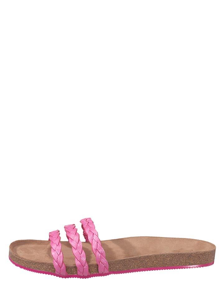"""Flip Flop Leder-Pantoletten """"Toe Fu Slim Braid"""" in Pink"""