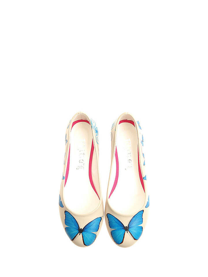 Goby Ballerinas in Creme/ Blau