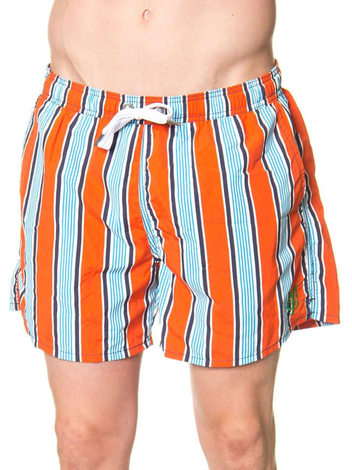 Marc O'Polo Zwemshort oranje/lichtblauw/wit