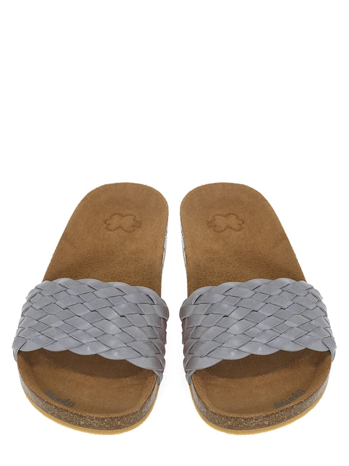 "Flip Flop Pantolette ""Toe Fu Braid"" in hellgrau"