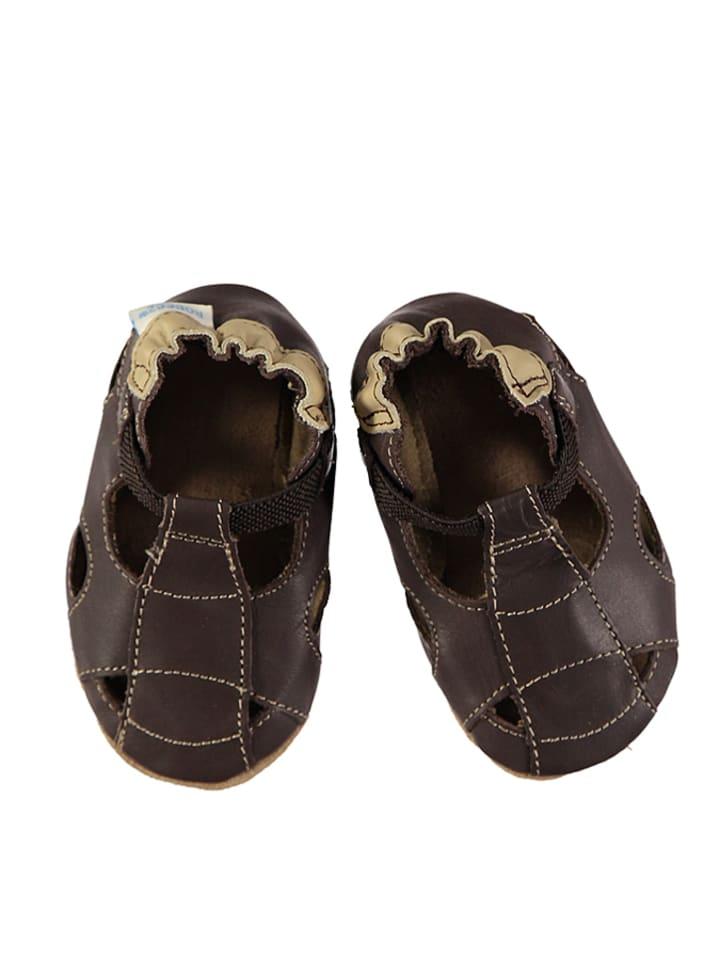 Robeez Skórzane buty niemowlęce w kolorze ciemnobrązowym