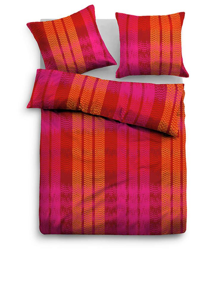 tom tailor satin bettw sche set in pink rot orange limango outlet. Black Bedroom Furniture Sets. Home Design Ideas