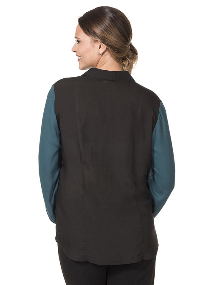Sheego Bluse in Petrol/ Schwarz