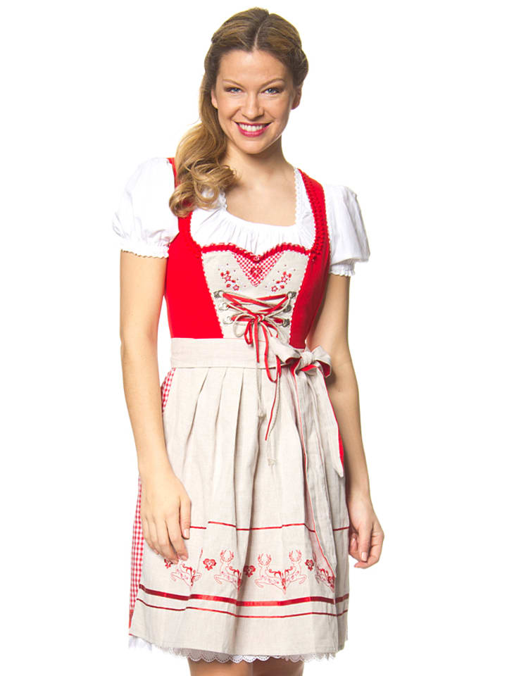 stockerpoint mini dirndl leonie in rot beige. Black Bedroom Furniture Sets. Home Design Ideas