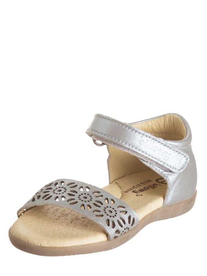 Billowy Skórzane sandały w kolorze srebrnym