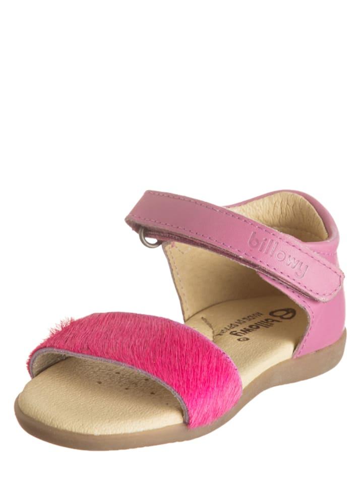 Billowy Skórzane sandały w kolorze różowym